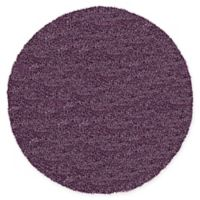 Unique Loom Luxe Solo 6' Round Powerloomed Area Rug in Purple