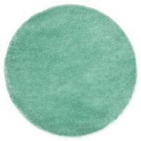 Unique Loom Luxe Solo 6' Round Powerloomed Area Rug in Green