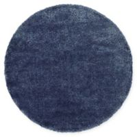Unique Loom Luxe Solo 6' Round Powerloomed Area Rug in Navy