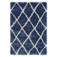 Unique Loom Luxe Trellis Shag 4' X 6' Powerloomed Area Rug in Navy