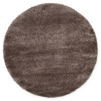 Unique Loom Luxe Solo 6' Round Powerloomed Area Rug in Brown