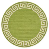Unique Loom Modern Athens 6' Round Powerloomed Area Rug in Light Green