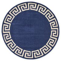 Unique Loom Modern Athens 6' Round Powerloomed Area Rug in Navy