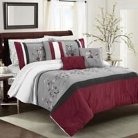 Tori 10-Piece Queen Comforter Set in Red