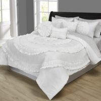 Jennifer Ruffled 10-Piece Queen Comforter Set in White