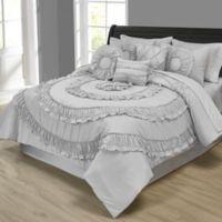 Jennifer Ruffled 10-Piece Queen Comforter Set in Silver