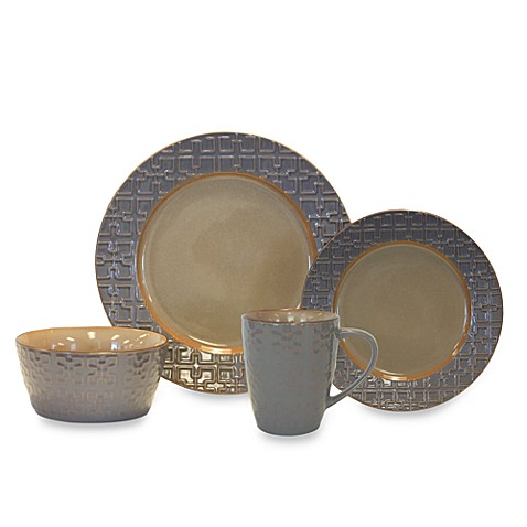 Baum Trellis 16-Piece Dinnerware Set in Grey
