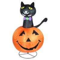 Black Cat on a Pumpkin 36-Inch Pre-Lit Halloween Yard Decoration in Orange