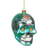 Northlight® 4-Inch Day of the Dead Skull Halloween Ornament in Green