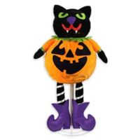 Northlight 35-Inch LED Cat Jack-O-Lantern Halloween Decoration in Orange