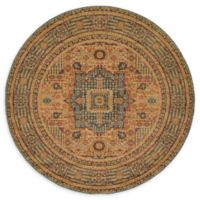 Unique Loom Jackson Palace 6' Round Powerloomed Area Rug in Blue