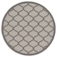 Unique Loom Moroccan Outdoor 6' Round Powerloomed Area Rug in Gray