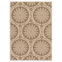 Unique Loom Medallion Outdoor 7' X 10' Powerloomed Area Rug in Beige