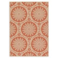 Unique Loom Medallion Outdoor 7' X 10' Powerloomed Area Rug in Beige/terracotta