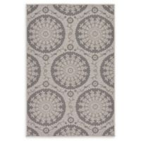 "Unique Loom Medallion Outdoor 3'3"" X 5' Powerloomed Area Rug in Gray"