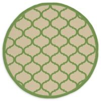 Unique Loom Moroccan Outdoor 6' Round Powerloomed Area Rug in Beige/green