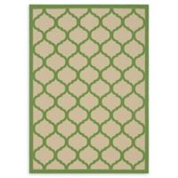 Unique Loom Moroccan Outdoor 7' X 10' Powerloomed Area Rug in Beige/green