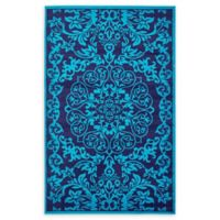Unique Loom Metro Floral 5' X 8' Powerloomed Area Rug in Turquoise