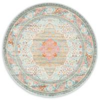 "Unique Loom Malecon Havana 5'5"" Round Powerloomed Area Rug in Light Blue"
