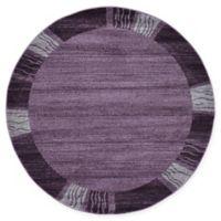 Unique Loom Sarah Del Mar 6' Round Powerloomed Area Rug in Purple