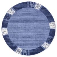 Unique Loom Sarah Del Mar 6' Round Powerloomed Area Rug in Light Blue