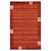 Unique Loom Sarah Del Mar 5' X 8' Powerloomed Area Rug in Rust Red