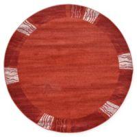 Unique Loom Sarah Del Mar 6' Round Powerloomed Area Rug in Rust Red
