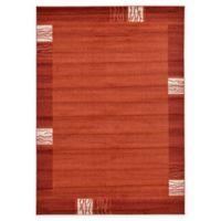 Unique Loom Sarah Del Mar 7' X 10' Powerloomed Area Rug in Rust Red