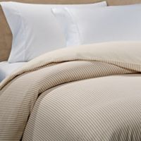 The Seasons Collection® HomeGrown™ Ticking Stripe Flannel Twin Duvet Cover in Taupe