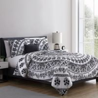 VCNY home Kaci Medallion Twin XL Duvet Cover Set in Black/White