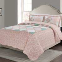 MHF Home Isabelle Reversible King Quilt Set in Pink