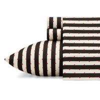 Betsey Johnson® Wonderland Stripe Twin Sheet Set in Black