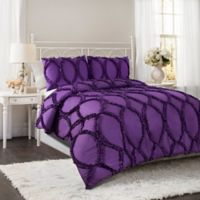 Lush Decor Avon 3-Piece Full/Queen Comforter Set in Purple
