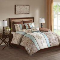Laverna 8-Piece Reversible Queen Comforter Set in Blue