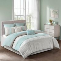 Tinsley 8-Piece Queen Comforter Set in Seafoam/Grey