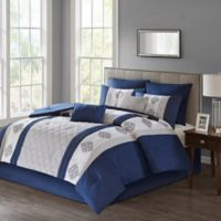 Claudine 8-Piece California King Comforter Set in Navy
