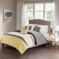 Donnell 5 Piece Reversible King Comforter Set In Yellow Grey