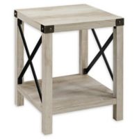 "Forest Gate 18"" Englewood Industrial Modern Square Side Table in Rustic Oak"