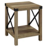 """Forest Gate 18"""" Englewood Industrial Modern Square Side Table in Grey Wash"""
