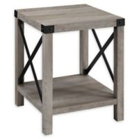 """Forest Gate 18"""" Englewood Industrial Modern Square Side Table in Dark Walnut"""