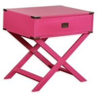 Linon Home Peggy X-Base Accent Table in Pink
