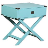 Linon Home Peggy X-Base Accent Table in Blue