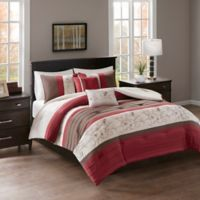 Myrtle Embroidered 5 Piece Reversible Full Queen Comforter Set In Red