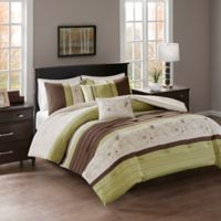 Myrtle Embroidered 5-Piece Reversible King Comforter Set in Green