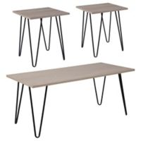 Flash Furniture Oak Park 3-Piece Coffee and End Table Set in Driftwood