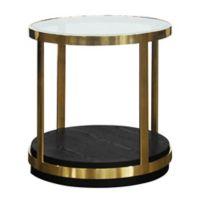Armen Living® Hattie Glass & Wood End Table