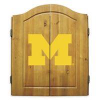 University of Michigan University Dartboard and Cabinet Set