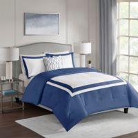 Carroll 4-Piece Reversible King Comforter Set in Navy