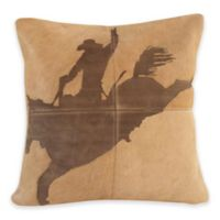 Mina Victory Rodeo Cowboy Square Throw Pillow in Beige