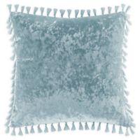 Intelligent Design Ariana Square Crushed Velvet Throw Pillow in Aqua